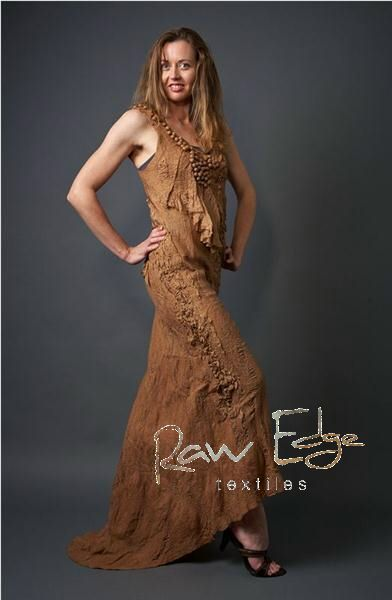 Eco-dyed silk and wool nuno-felted dress by Raw Edge Textiles.