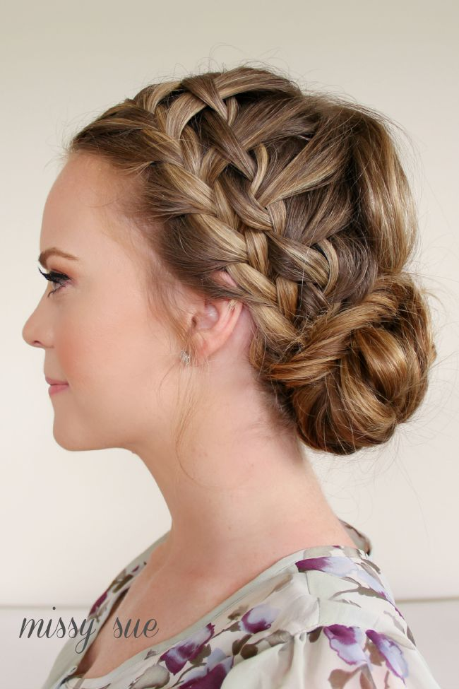 Braid 10 Double Waterfall Braids and Fishtail Bun. Fancier style for the waterfall braid. =)