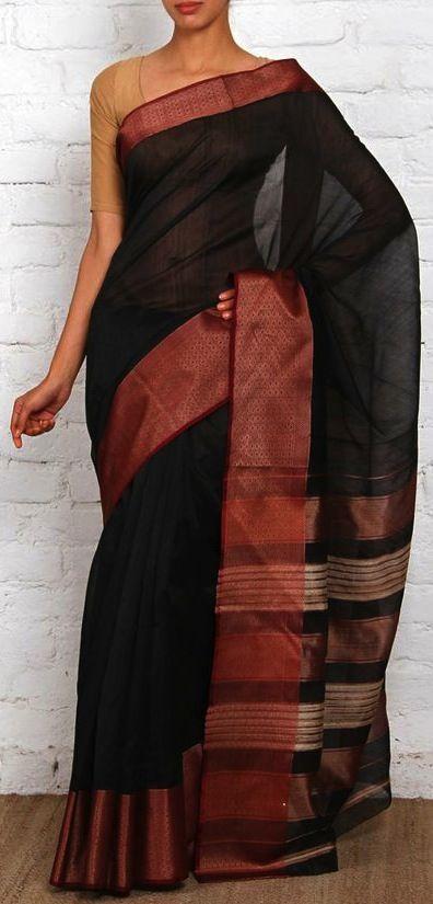 Black Handwoven Maheshwari Saree. Pinned by @webjournal