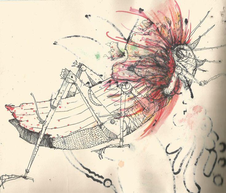 insecto, bake montoya, ilustracion, vintage, chapulin, grillo, flor