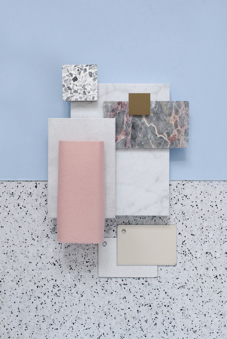 Material Mood Of The Week ~ Beachy Colors & Marble #interiordesign #design #inspiration #materials #colors #pastel #pink #marble #terrazzo #layering #summer #colorsscheme #samples #materialmood #moodboard #studiodavidthulstrup