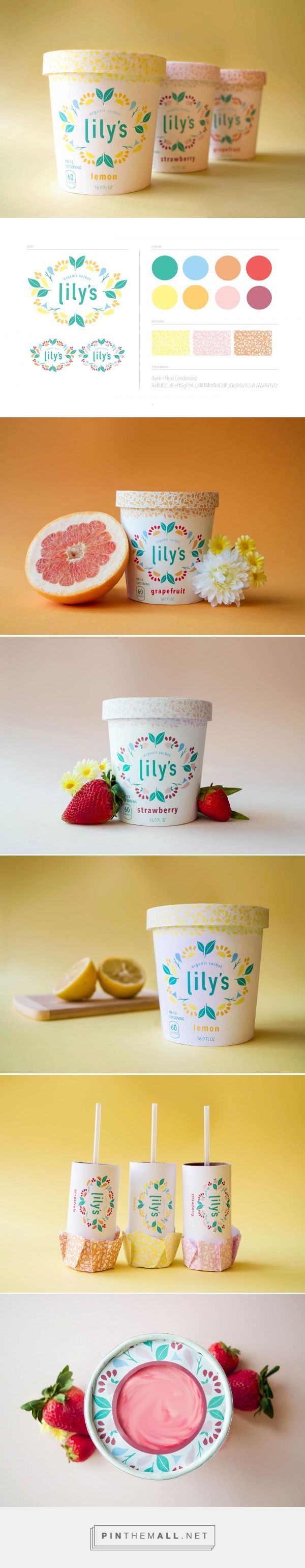Lily's Organic Sorbet by Emma Dahlgren.Source: Behance. Pin curated by #SFields99 #packaging #design #inspiration #ideas #icecream #branding