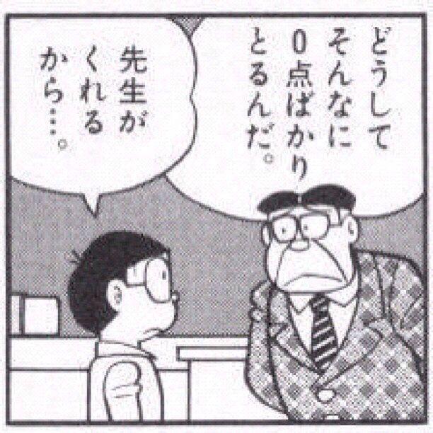 Doraemon. Nobita. Teacher. Test. 0