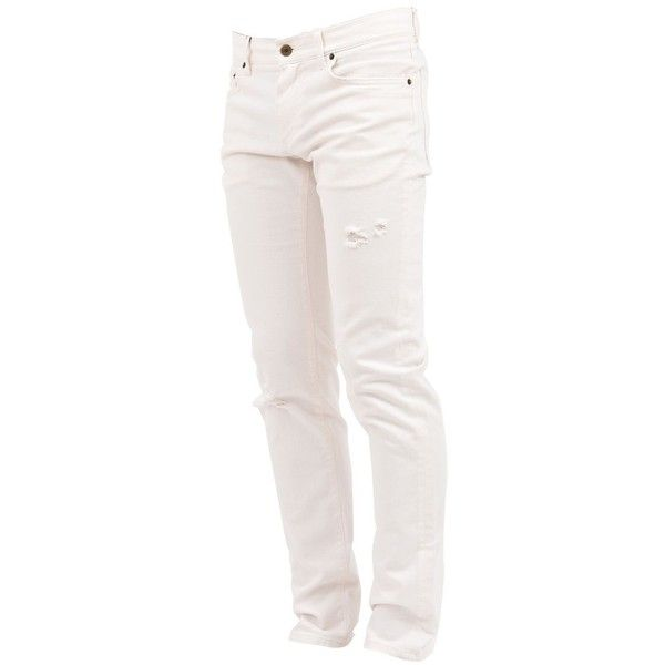 Stretch Cotton Denim Jeans (1.450 BRL) ❤ liked on Polyvore featuring men's fashion, men's clothing, men's jeans, white, mens destroyed jeans, mens white distressed jeans, mens zipper jeans, mens ripped jeans and mens distressed jeans
