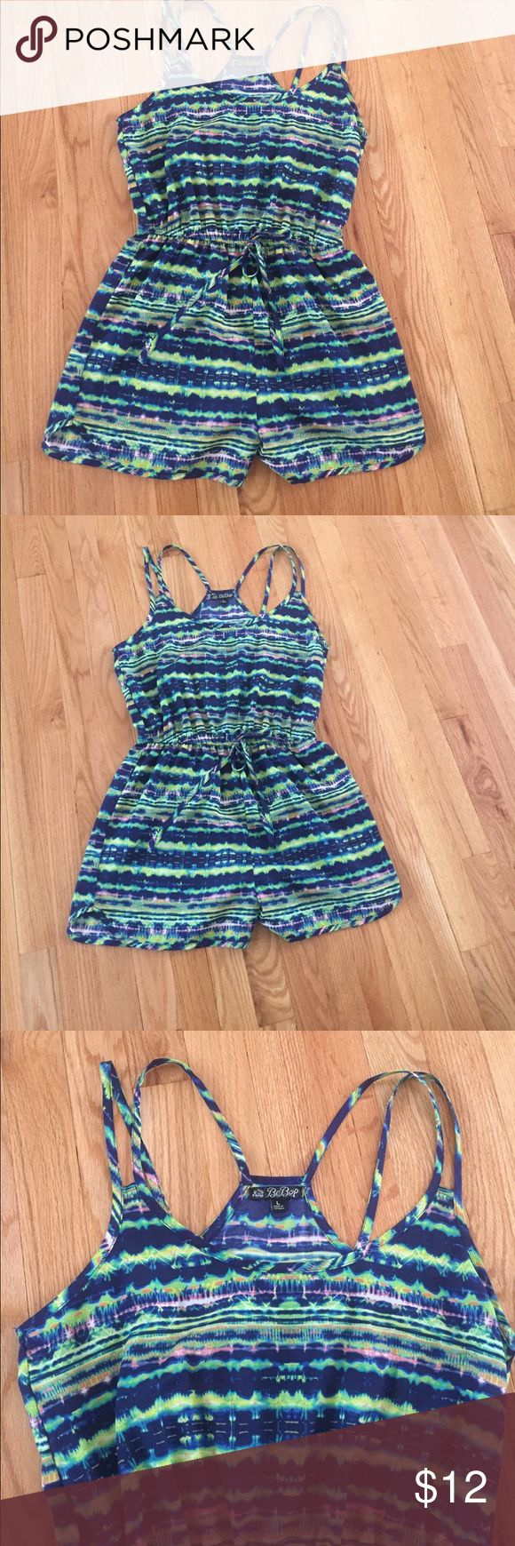 Multi Color Short Romper Multi color Short's Romper. Romper has double skinny straps & drawstring waist. Beautiful colors. In excellent condition Be Bop Pants Jumpsuits & Rompers