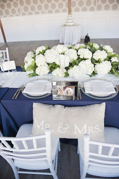 Love everything about this navy and white reception decor - the perfect touch of nautical! {Sarah Murray Photography}