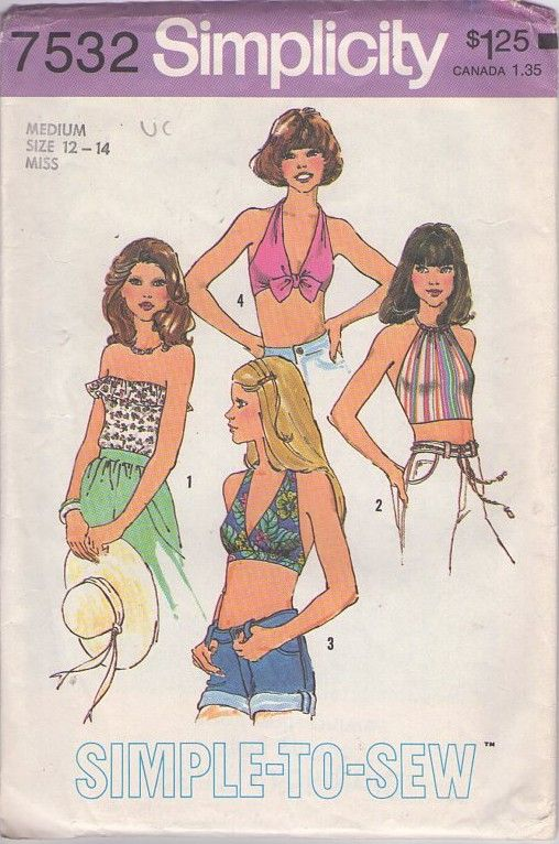 Simplicity 7532 Vintage 70's Sewing Pattern STONE FOX Simple to Sew Ruffled Strapless, Cropped Halter Drawstring, Bra Top Set #MOMSPatterns