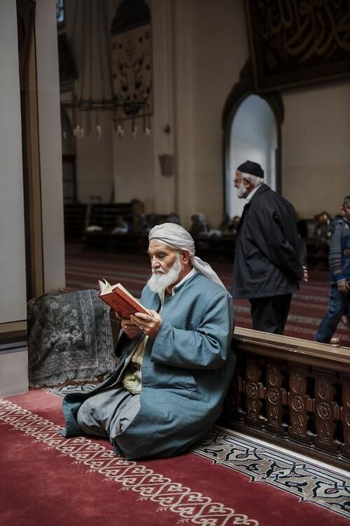 Peaceful Moment with the Quran at the Mosque