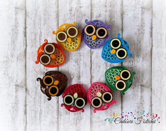 Rainbow Owl Quilling Paper Brooch by CadouriFistichii on Etsy