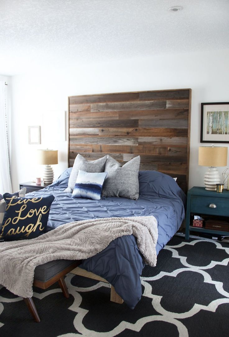 Modern Rustic Bedroom Reveal Check Out The Diy Wood Plank Headboard High Contrast Details