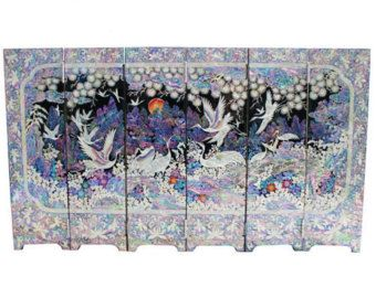 Mini portable screen room folding divider Lacquer ware inlaid mother of pearl Meaning Of Ten Symbols Of Longevity