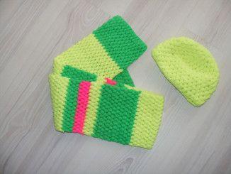 #watdoetvanessanu haken, crochet, zelfmaken, winter setje, neon geel, groen en neon roze zoet geluk! Muts en sjaal haken - neon