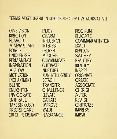 terms most useful in describing creative works of art                                                                                                                                                                                 Plus