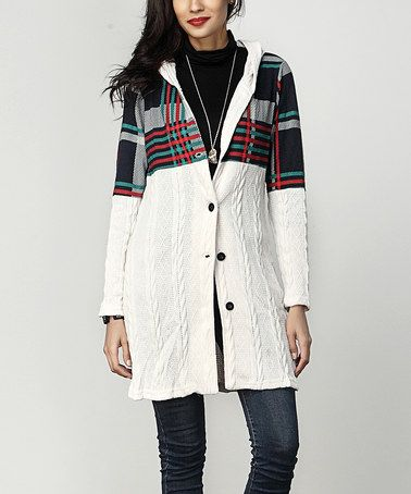 Look what I found on #zulily! Cream Cable Knit & Plaid Hooded Cardigan #zulilyfinds
