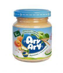 Агу-Агу пюре детское Яблоко с Персиком, Творогом и Овсянкой с 6 мес. 100г  — 26р.  Гомогенизированное. Стерилизованное.   Не содержит консервантов, красителей, искусственных добавок, ГМО.     Состав   яблочное пюре, персиковое пюре, творог (9,0%), мука овсяная (5%), сахар, вода питьевая артезианская специально подготовленная.   Пищевая ценность   углеводы, г - 15,0   белки, г - 1,5   жиры, г - 0,7   пищевые волокна, г - 1,6   минеральные вещества (справочно):   K, мг - 200,0-300,0…