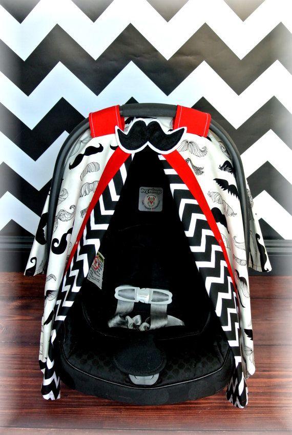 Mustache Carseat Canopy Car Seat Cover Black Red White Chevron