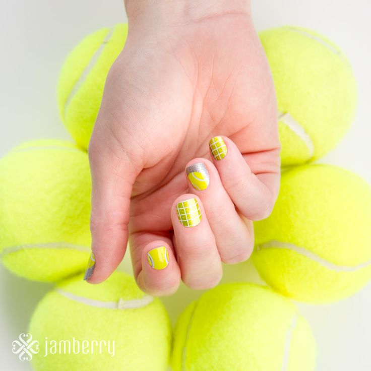 The perfect Tennis Nail - Match Point - apply yourself at home with a hairdryer nail wrap! This has a metallic sparkle finish to really catch the eye - a striking design!