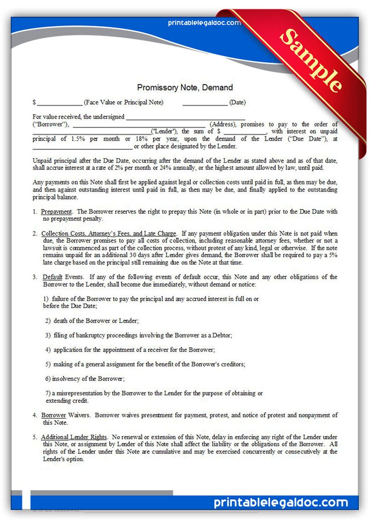 Free Printable Promissory Note, Demand  Legal Forms