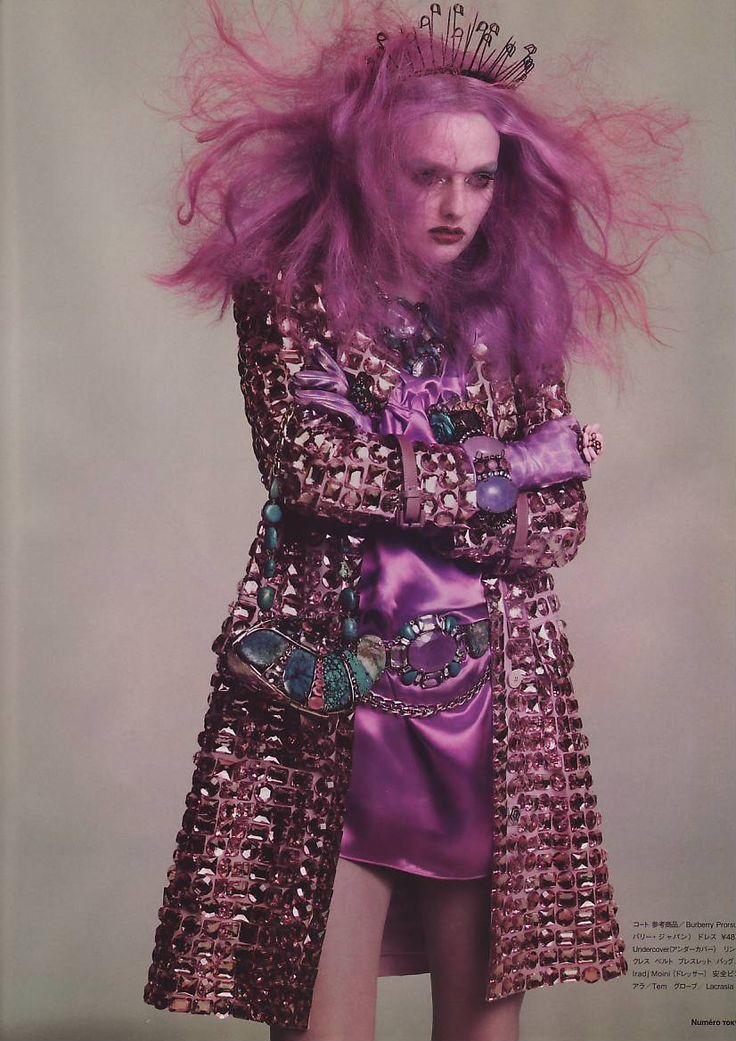 Violet Punk  June 2007  Photographer: Alexei Hay  Model: Lydia Hearst  Coat by Burberry Prorsum
