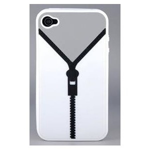 Coque iPhone 4 - Fermeture Eclair - Blanche