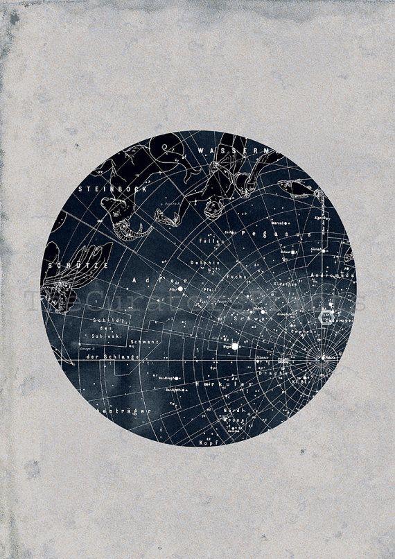 Constellation Stars Map Zodiac Print Vintage Image. $40.00, via Etsy.