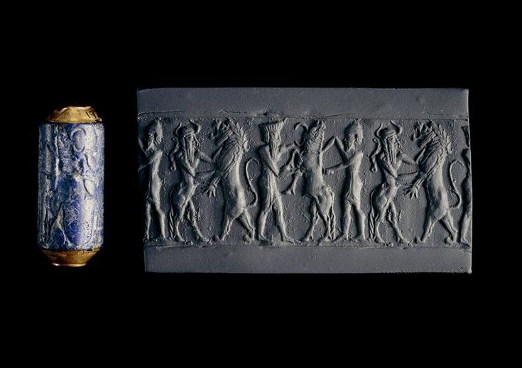 Sceaux cylindre : homme-taureau combattant un lion  Description :  Cimetière royal d'Ur  Période :  époque d'Agadé (vers 2350-2200) - (Mésopotamie)