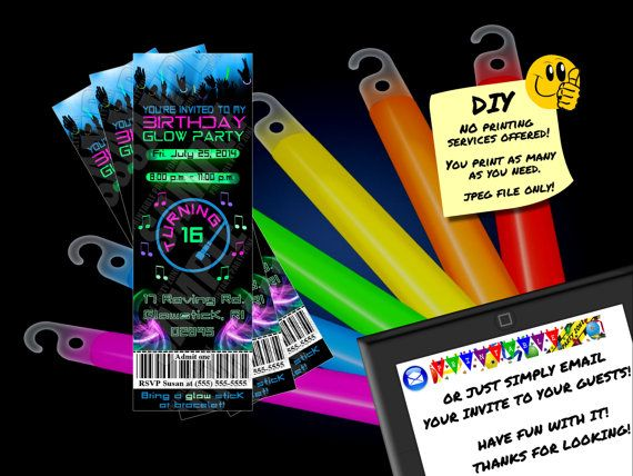 BIRTHDAY GLOW PARTY Ticket Invitation, Printable Invite, Emailable ...