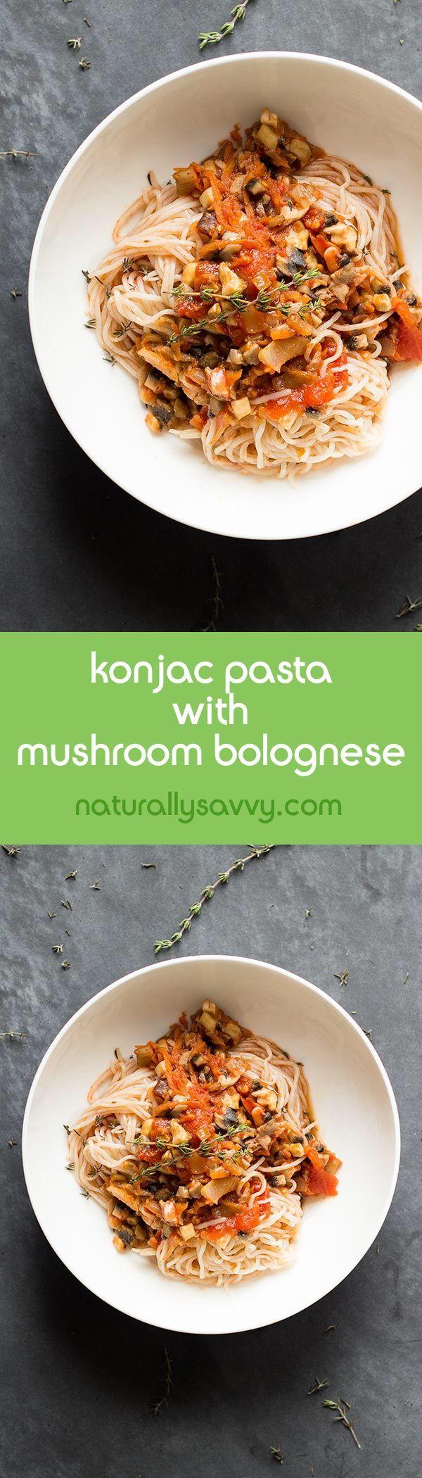 Konjac pasta with mushroom bolognese!