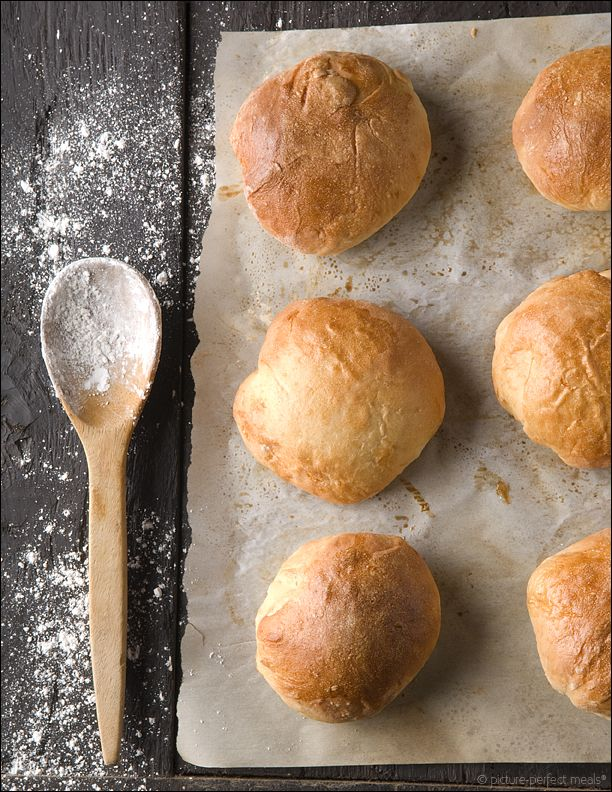 Homemade Sandwich Buns - Picture-Perfect Meals. Can knead in my Kitchen Aide Mixer with dough hook.