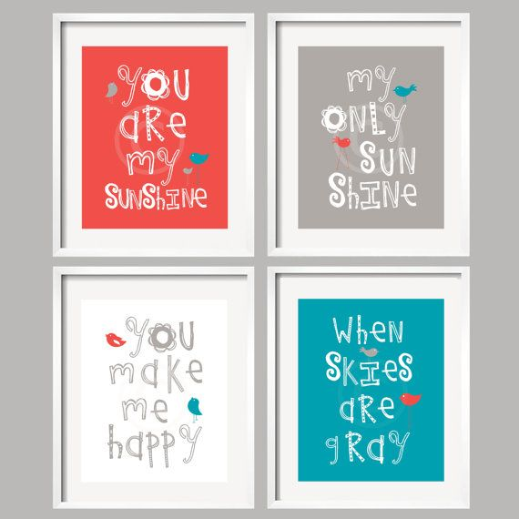 You are my sunshine Kids Art Prints in Coral, Turquoise and Gray, Nursery Decor 8x10
