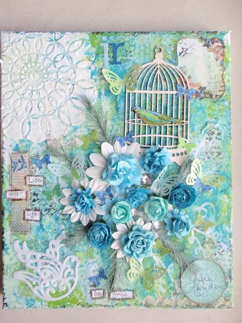 Mixed media on canvas (birdcages/butterflies/birds/flowers)