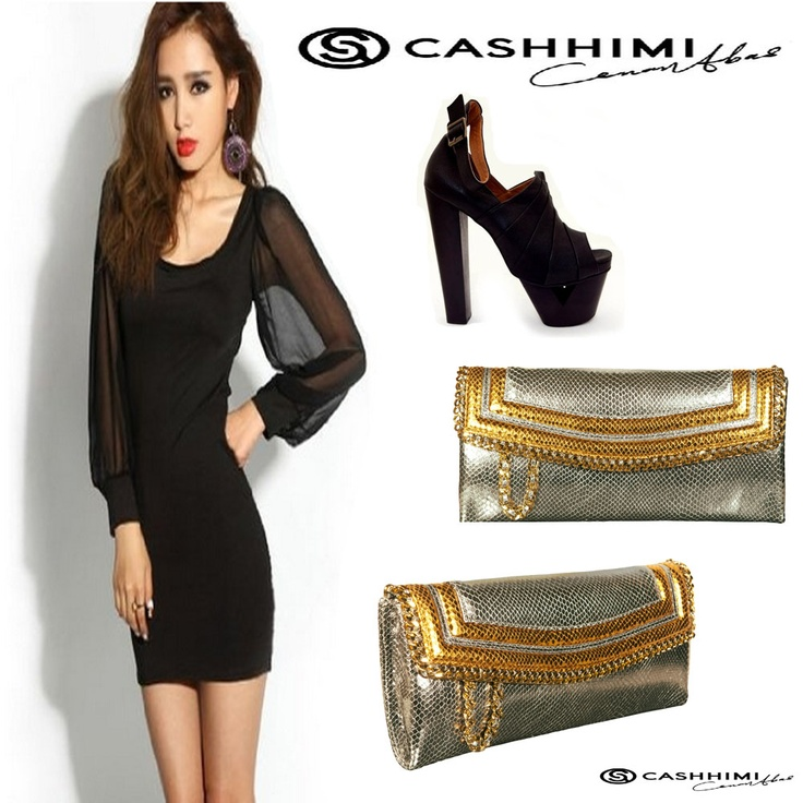 Cashhimi Gold Silver DOHENY  Leather Clutch