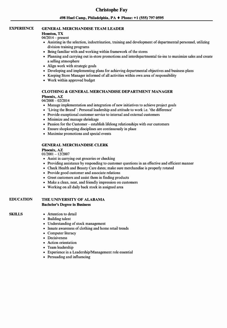 20 Merchandiser Job Description Resume in 2020 Job