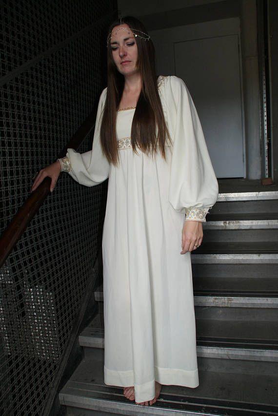 Vintage 70's Cream Maxi Dress Bridal Lurex Medieval