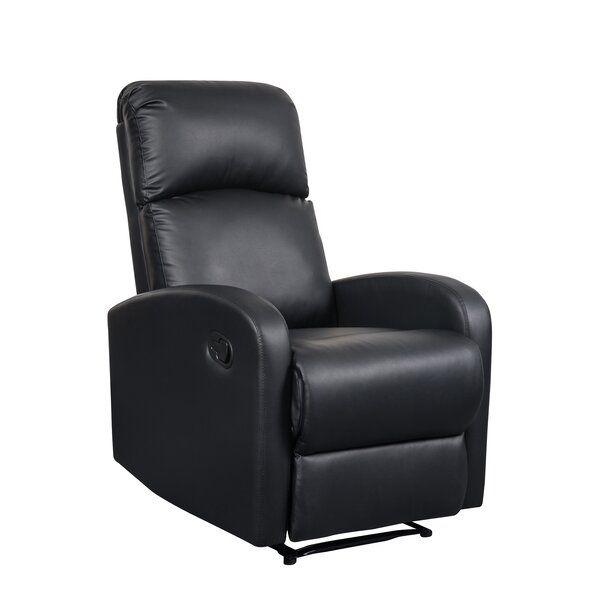 Dockett Slim Design Manual Recliner In 2020 Black Leather Recliner Black Upholstery Recliner