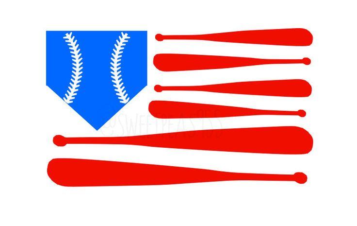 Baseball Flag Decal American Pride 4th of July by SweetPeas955