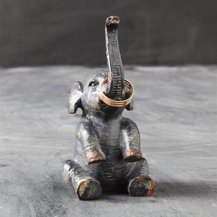 Rustic Elephant Ring Holder - want