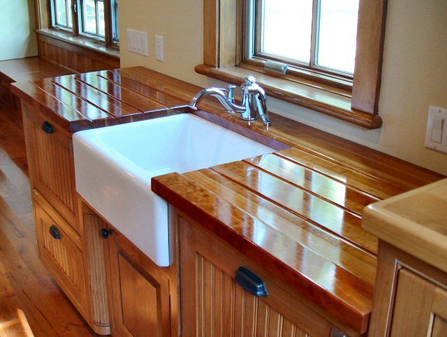 Cherry Face Grain Countertop With Under Mount Farm Sink
