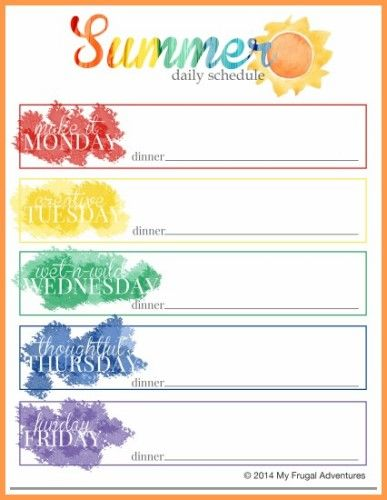 Summer Schedule for Children {Ideas, Projects + Free Printable}