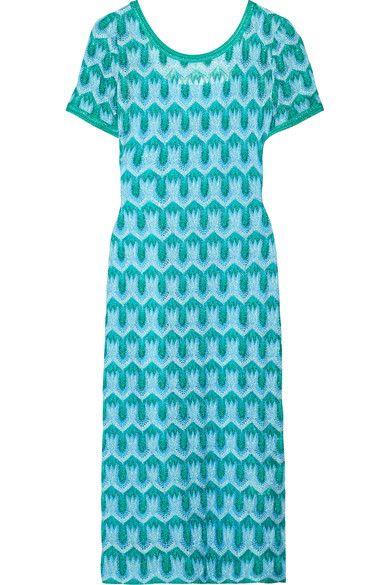 Missoni - Metallic Crochet-knit Midi Dress - Turquoise - IT40