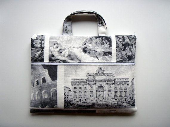 15,6 inch Laptop Sleeve Pocket Handles Rome Italy by Babimini, €37.00