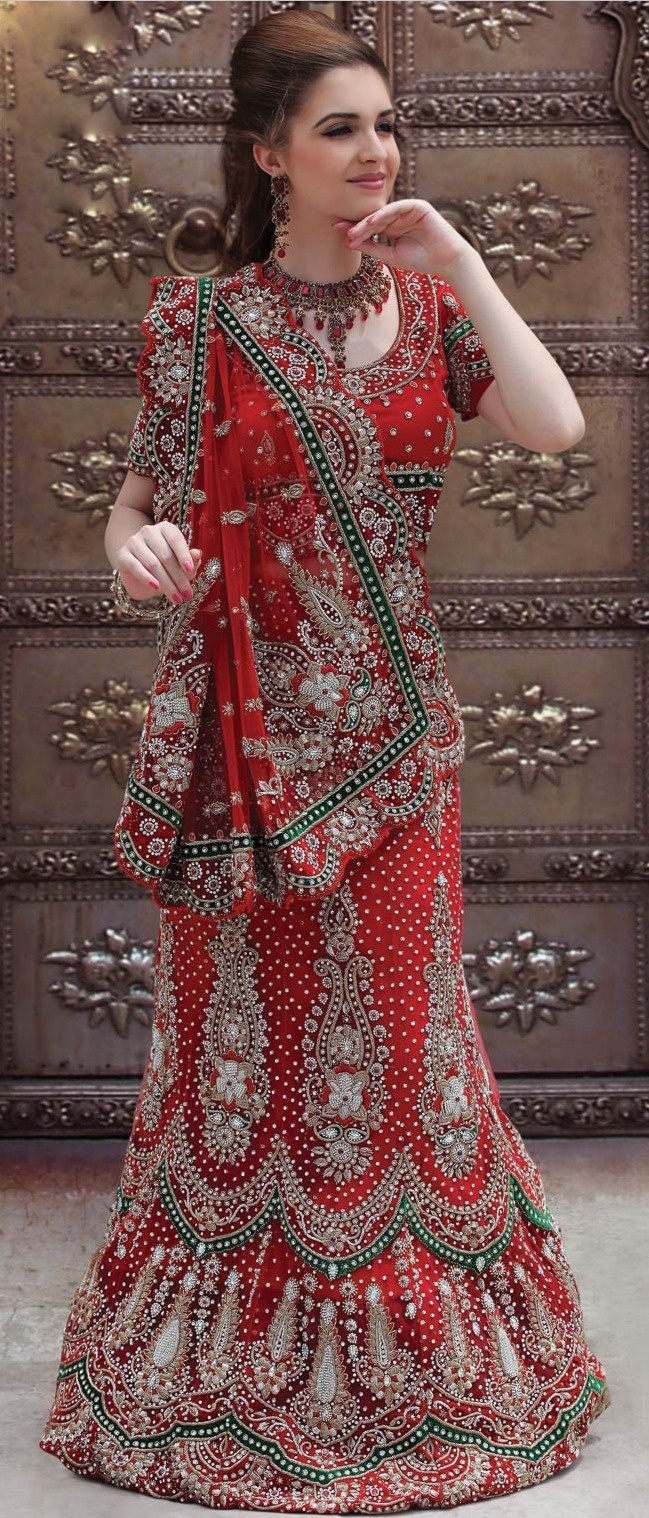 #Red Net #Saree With Blouse @ $702.36