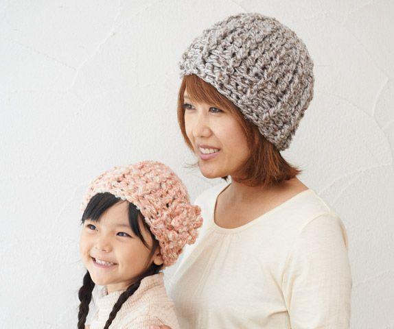 親子でかぶれるナチュラルでかわいいかぎ針編みで編む帽子の編み方☆