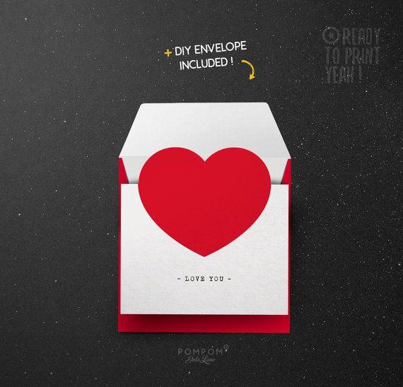 Carte de voeux À IMPRIMER - Carte Amour - carte de voeux coeur - carte saint valentin - carte imprimable - Enveloppe DIY - Coeur rouge