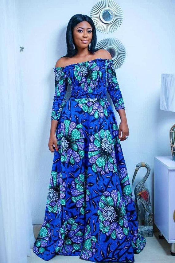 Blue cold shoulder dress Ankara dress