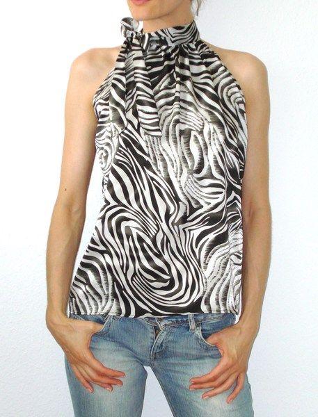 Neckholdertops - Neckholder Top Bluse schwarz weiß Zebra - ein Designerstück von lucylique bei DaWanda