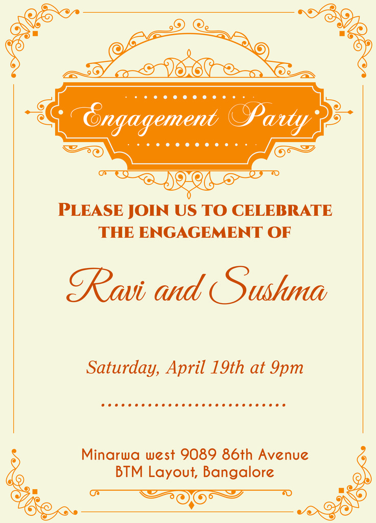 Indian Engagement Invitation Card With Wordings Check It Out!  Engagement Card Template