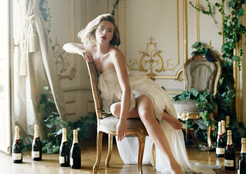 Scarlett Johansson photographed by Tim Walker for Moët & Chandon.