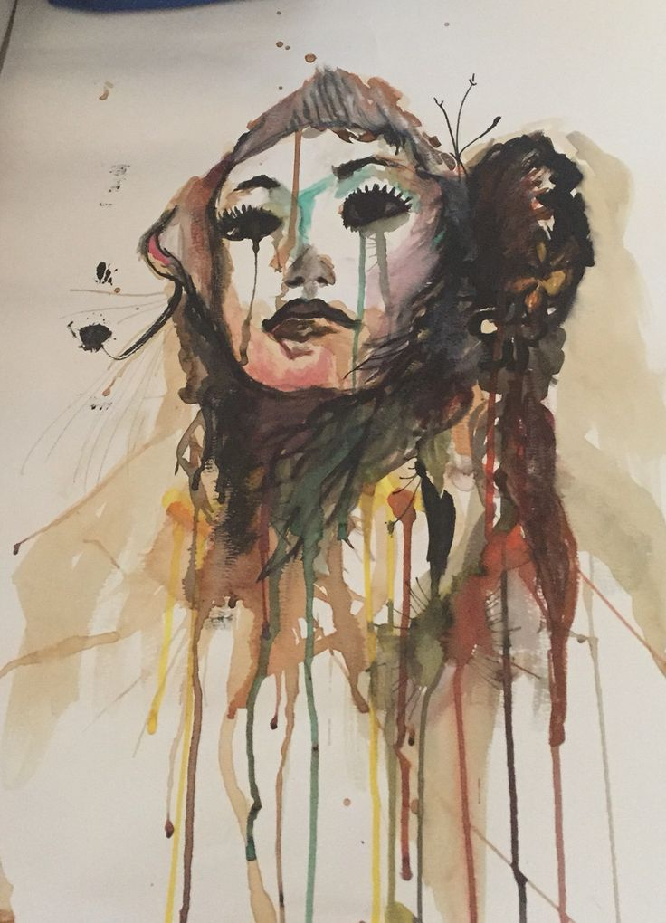 My own attempt at Carne Griffiths technique. Instead of using vodka and brandy I used tea and coffee.  Painted: September 2015