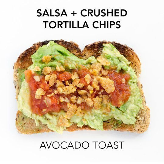 Avocado Toast + Tortillas chips + salsa piccante